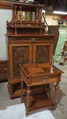 Замена шпона на столешнице. Реставрация старинной антикварной мебели 19 века из ореха.