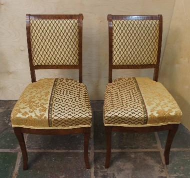 Реставрация стульев 50-х годов. Красное дерево, пружинное сиденье. Ткань для обивки предоставил заказчик.