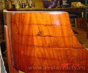 Красное дерево. Протёртый шпон. Способы восстановления. Как не получить дефект реставрации.