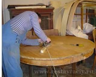 Укладка шпона на столешнице